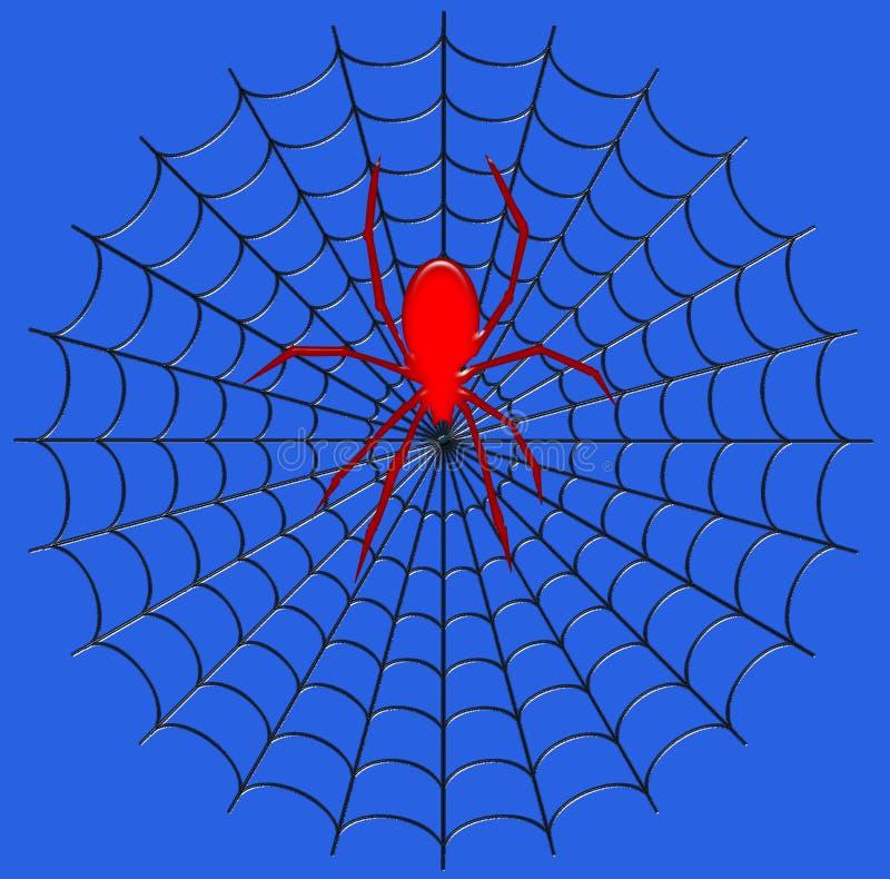 Illustration de Digital insecte Une araignée géante sur son Web photo stock