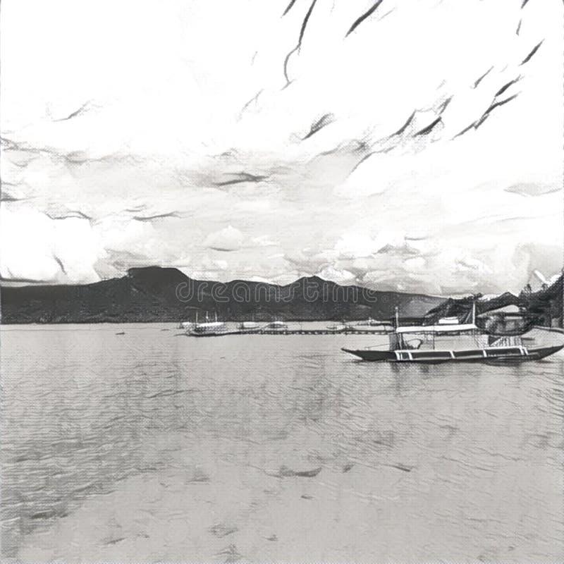 Illustration de Digital - le bateau et la mer, image monochrome pour le fond illustration libre de droits