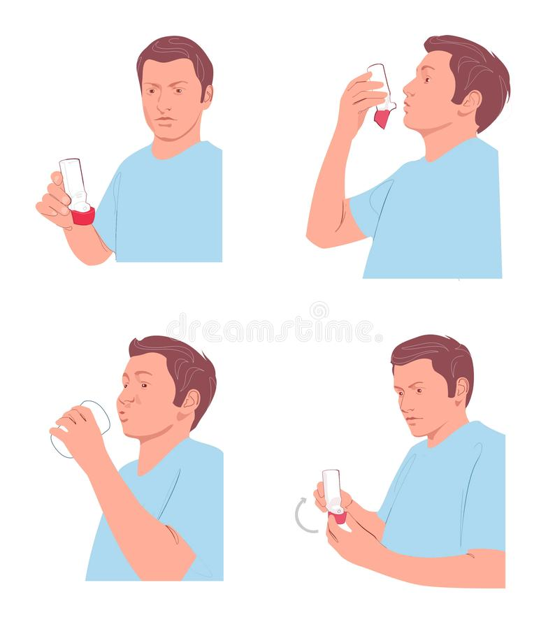 Illustration de Digital de ligne de l'homme utilisant un inhalateur illustration stock