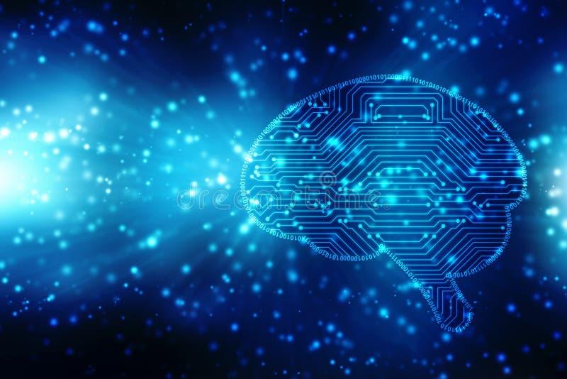 Illustration de Digital de structure d'esprit humain, fond créatif de concept de cerveau, fond d'innovation illustration libre de droits