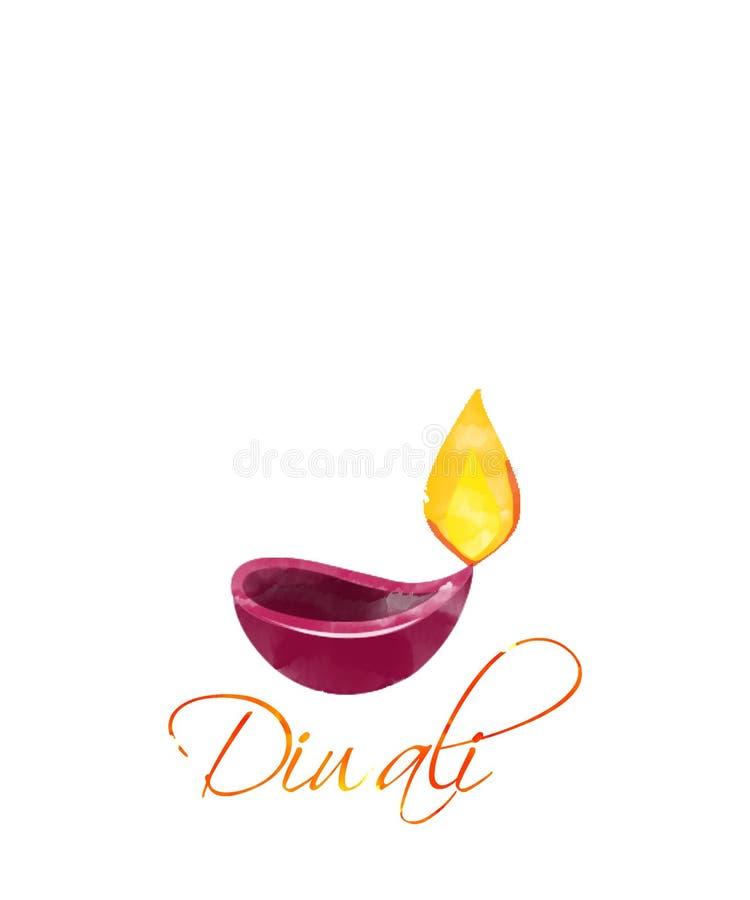 Illustration de diya brûlant sur le fond blanc de vacances heureuses de Diwali pour le festival léger de l'Inde illustration de vecteur