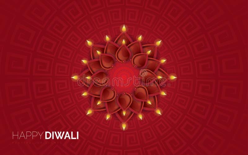 Illustration de diya brûlant sur le fond heureux de vacances de Diwali illustration libre de droits