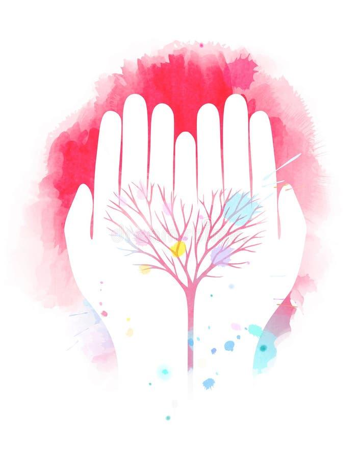 Illustration de double exposition Mains humaines tenant des WI de symbole d'arbre illustration stock