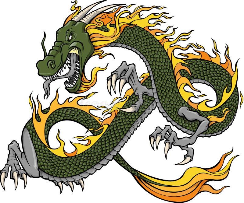 Illustration de dragon vert illustration stock