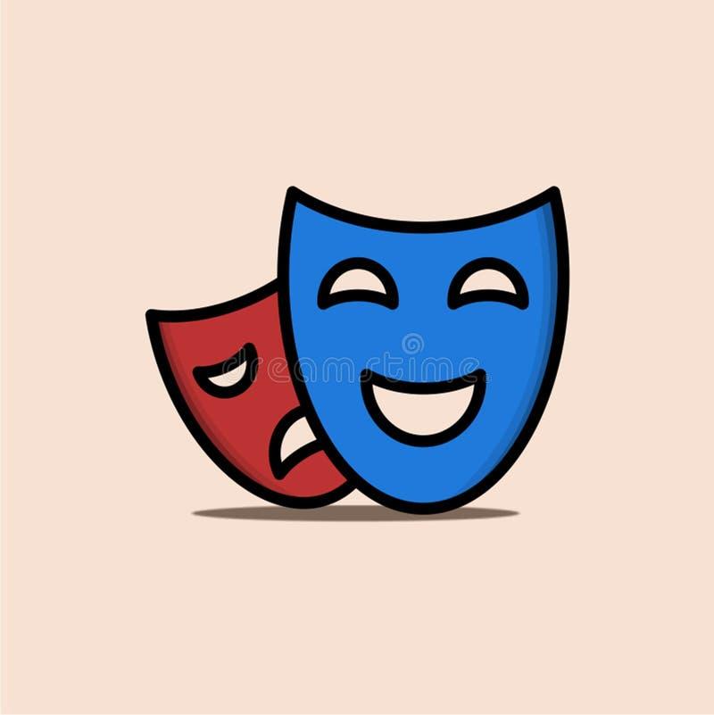 Illustration de drame avec le bleu et le rouge de deux masques illustration stock
