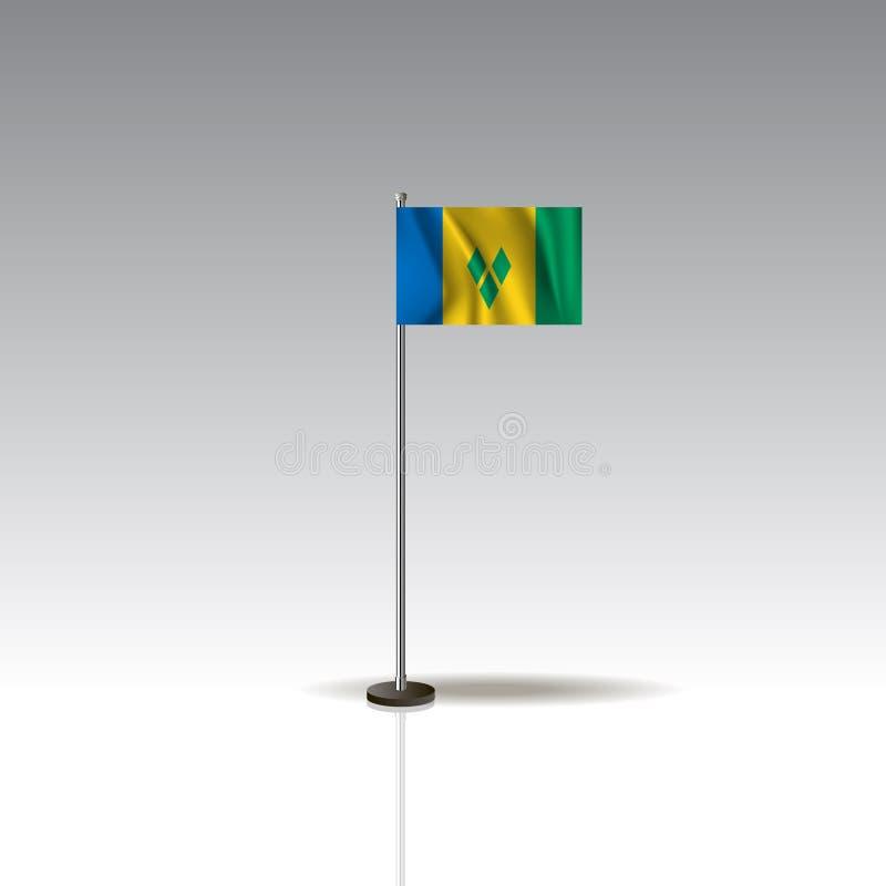 Illustration de drapeau du pays du SAINT VINSENT ET DES GRENADINES illustration stock