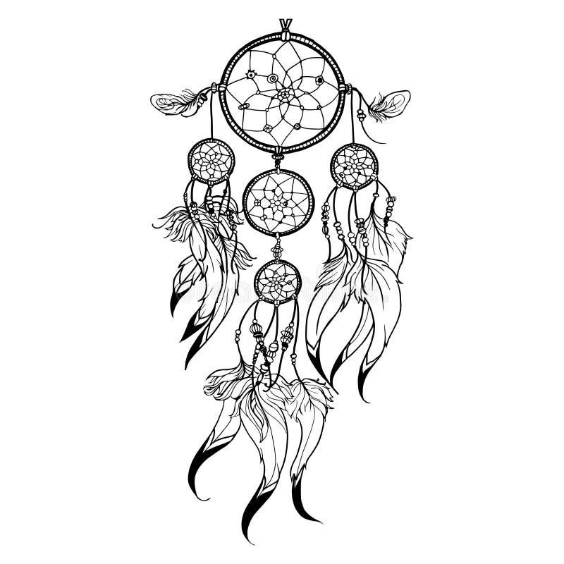Illustration de Dreamcatcher de griffonnage illustration de vecteur
