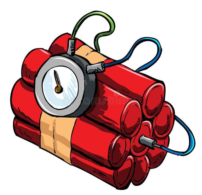 Illustration de dynamite avec le dispositif de chronométrage illustration stock