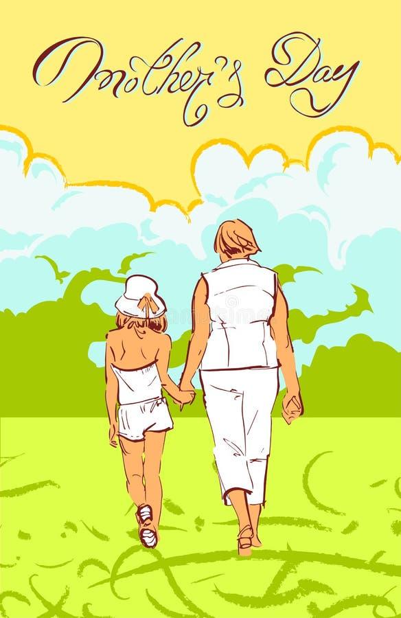 Illustration de félicitations lumineuse de vecteur pour le jour de mères illustration stock