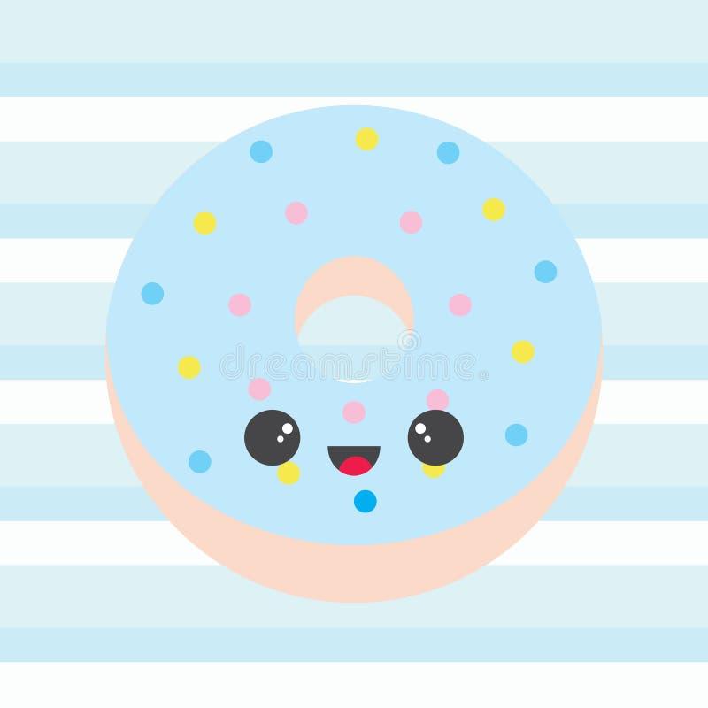 Illustration de fête de naissance avec le beignet bleu mignon sur des rayures illustration de vecteur