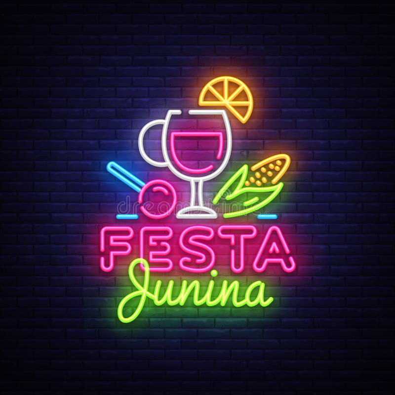 Illustration de fête de vecteur de Festa Junina Le calibre de conception est le style au néon, conception moderne de tendance Vac illustration stock