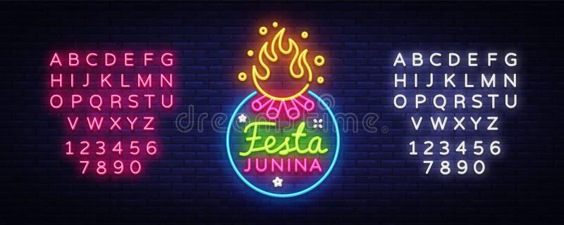 Illustration de fête de vecteur de Festa Junina Le calibre de conception est le style au néon, conception moderne de tendance Vac illustration stock