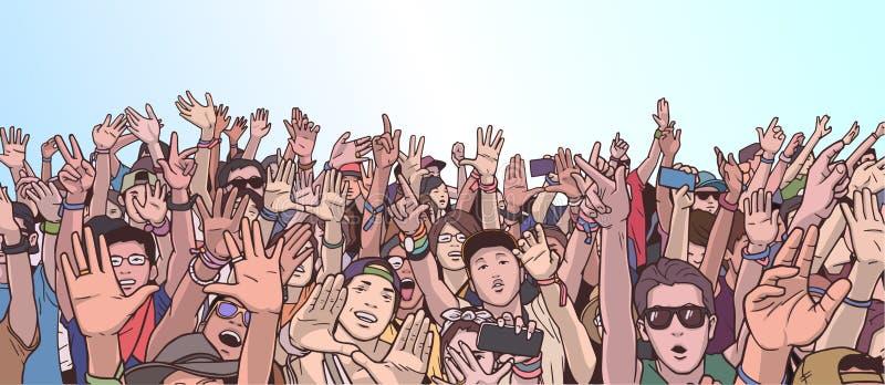 Illustration de faire la fête la foule avec les mains augmentées illustration de vecteur