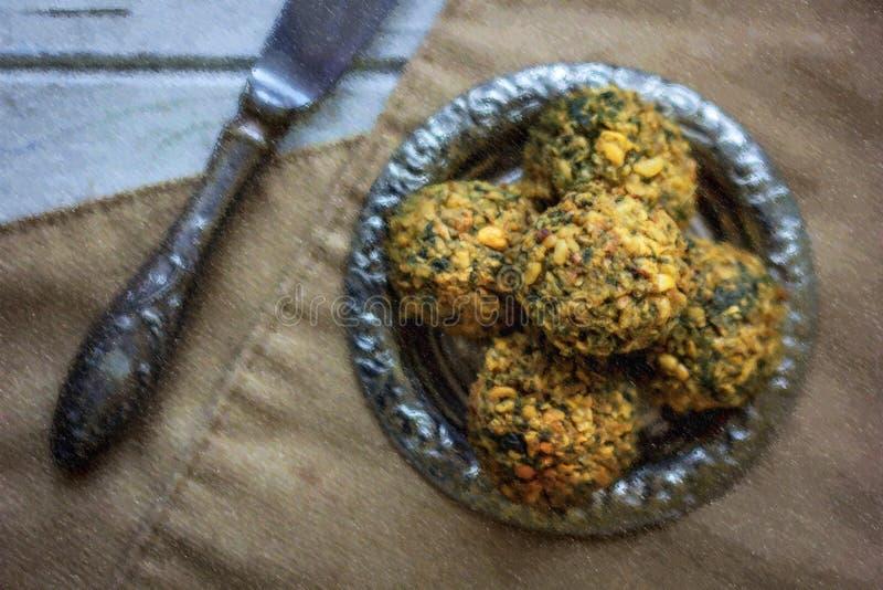 Illustration de falafel délicieux de vegan sur la plaque de métal illustration de vecteur