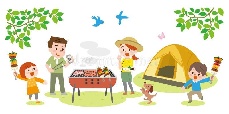 Illustration de famille appr?ciant le barbecue dehors illustration de vecteur
