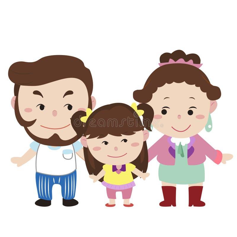 Illustration de famille mignonne avec le blanc illustration libre de droits