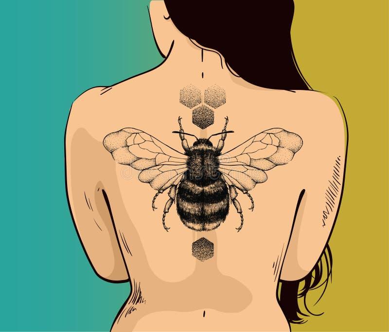 Illustration de femme avec le modèle d'abeille et de nid d'abeilles de miel sur le dos La bière est symbole de diligence, économi illustration libre de droits