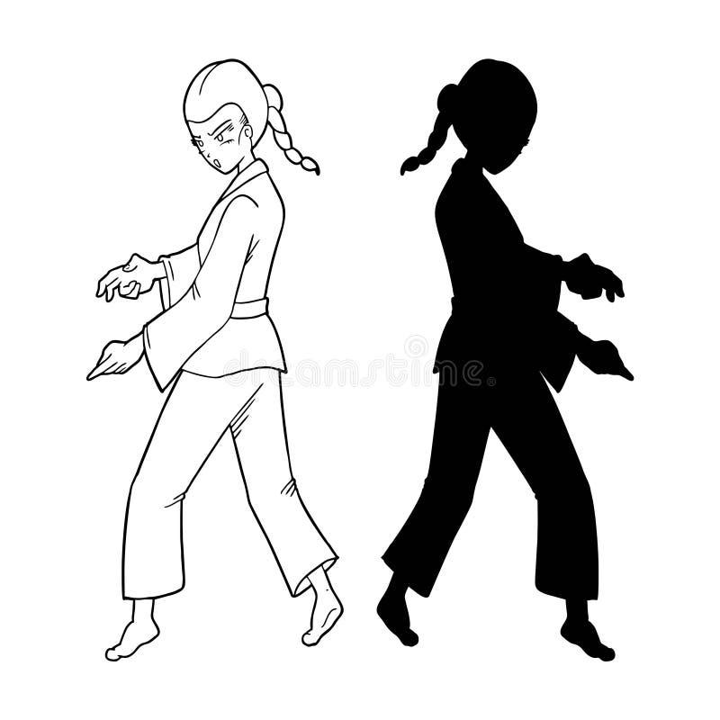 Illustration de femme de karaté illustration stock
