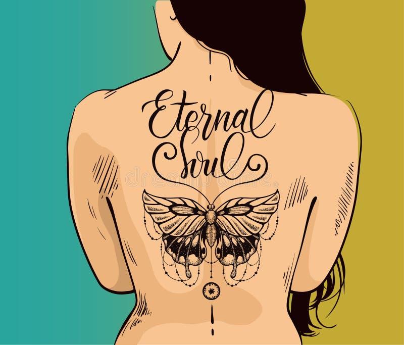 Illustration de femme sexy avec le beau tatouage de papillon sur le dos Le papillon est symbole d'âme éternelle, la nouvelle vie illustration libre de droits