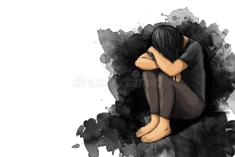 Illustration de femme triste étreindre son genou et cri avec l'espace de copie illustration libre de droits