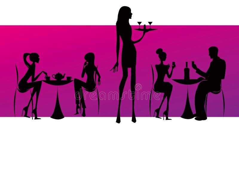 Illustration de femmes de café de salon de restaurant de bar illustration libre de droits