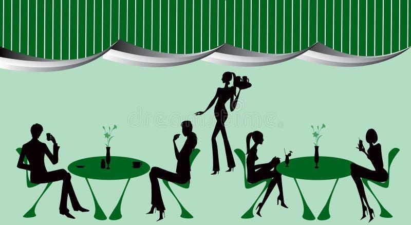 Illustration de femmes de café de salon de restaurant de bar illustration de vecteur