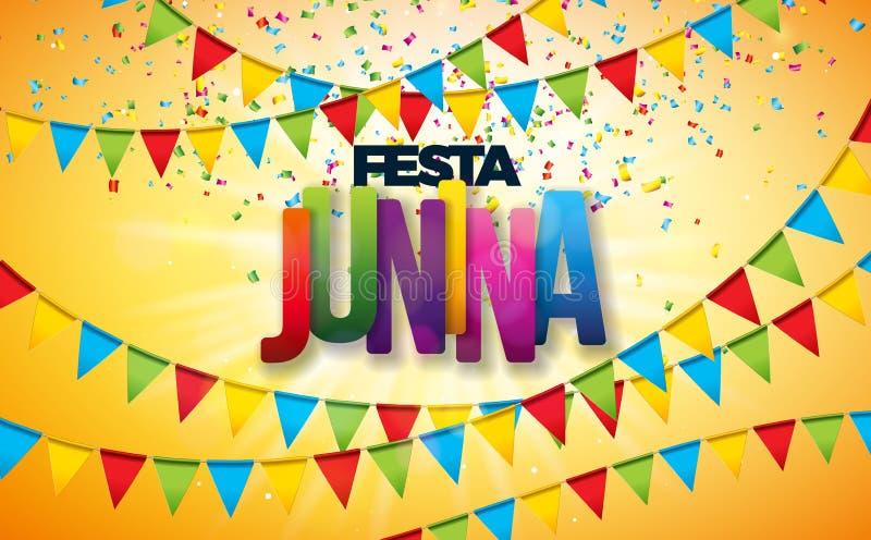 Illustration de Festa Junina avec des drapeaux de partie, des confettis colorés et la lettre de typographie sur le fond jaune Vec illustration stock