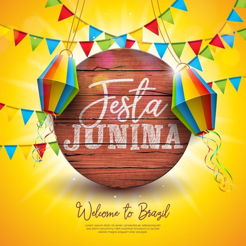 Illustration de Festa Junina avec des drapeaux de partie et lampion sur le fond jaune Conception de festival du Br?sil juin de ve illustration de vecteur
