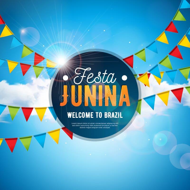 Illustration de Festa Junina avec des drapeaux de partie et lettre de typographie sur le fond bleu de ciel nuageux Vecteur Br?sil illustration stock