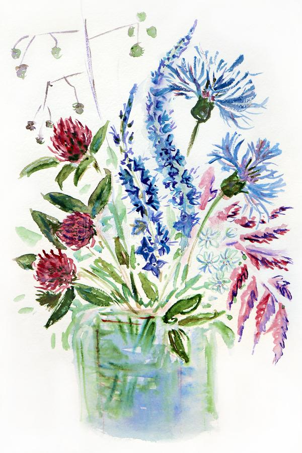 Illustration de figure d'un bouquet des wildflowers de pré dans un vase photographie stock libre de droits