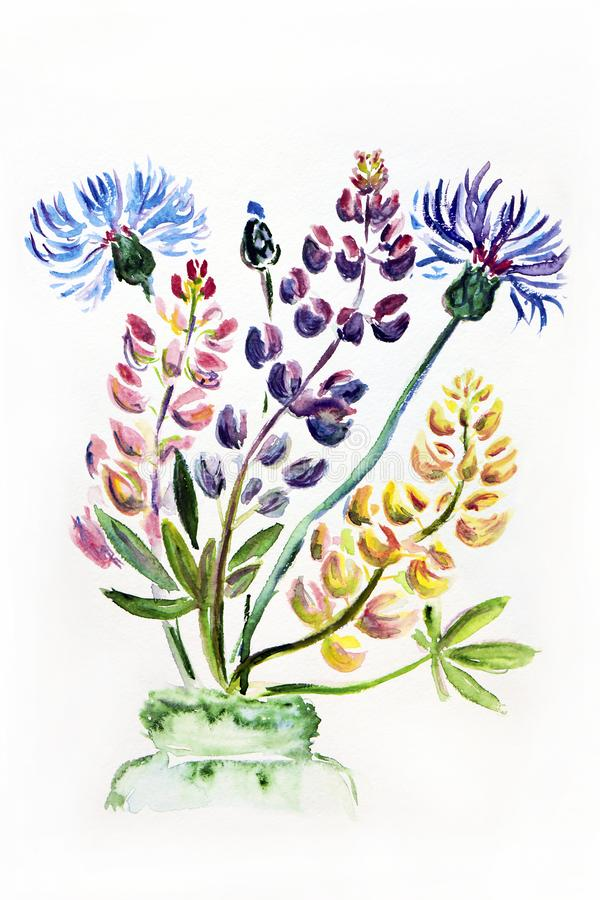 Illustration de figure d'un bouquet des wildflowers de pré dans un vase photographie stock