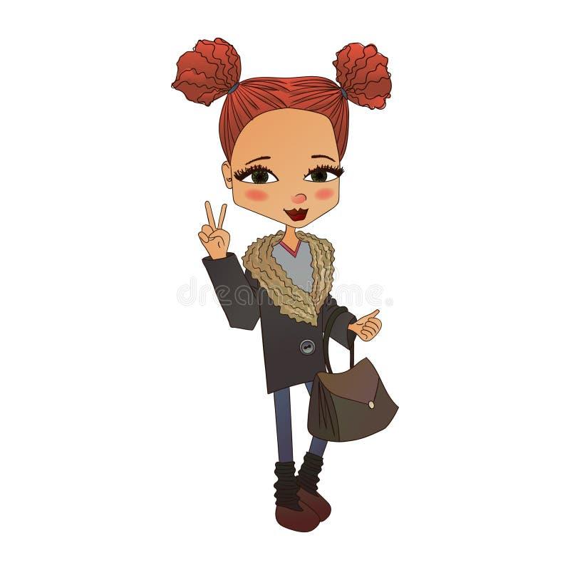 Illustration de fille de mode de vecteur avec un enfant mignon de mode illustration stock