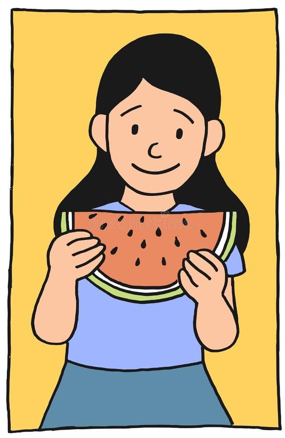 Illustration de fille de pastèque illustration libre de droits