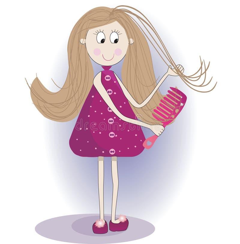 Illustration de fille mignonne dans un peignoir et des pantoufles Elle peigne des cheveux illustration de vecteur
