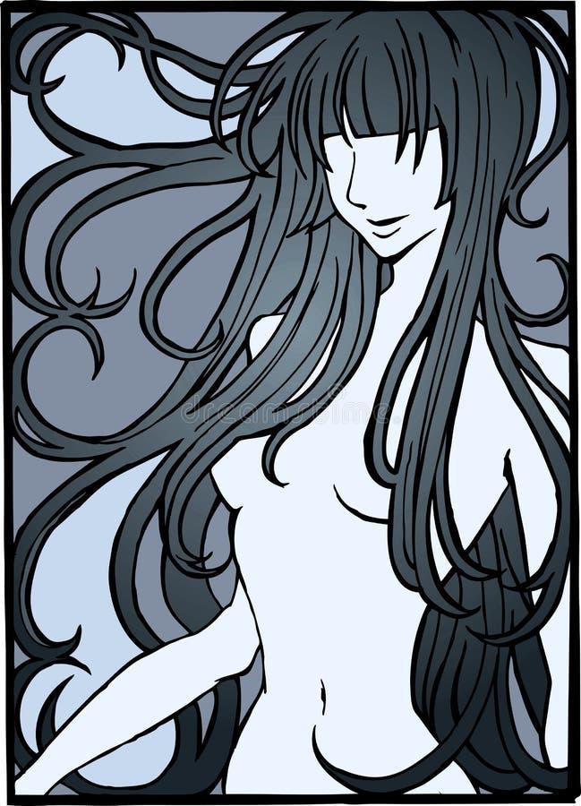 Illustration de fille nue illustration de vecteur
