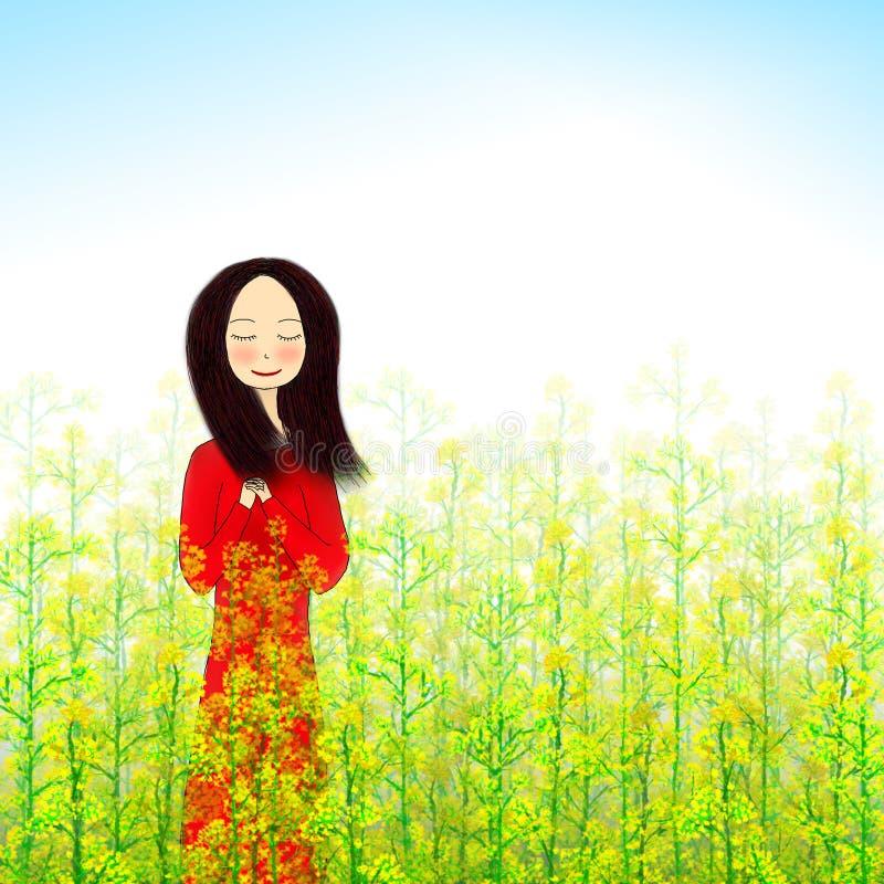 Illustration de fille se tenant dans le domaine de fleur de viol illustration libre de droits