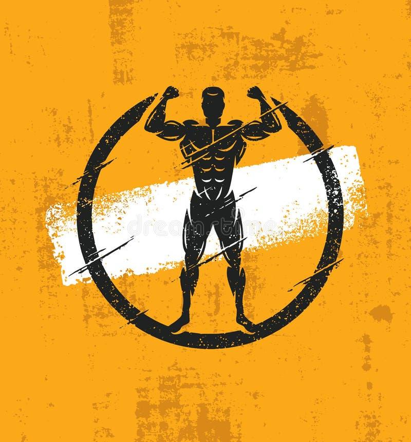 Illustration de Fitness Workout Rough d'athlète d'homme fort Concept grunge d'affiche de vecteur créatif illustration libre de droits