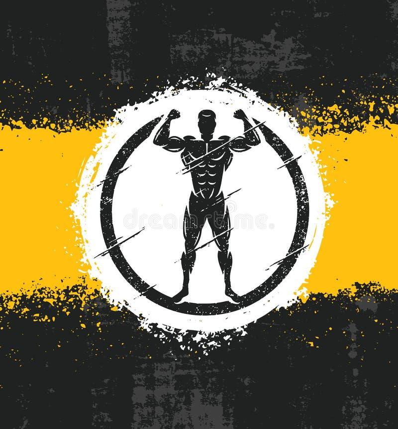 Illustration de Fitness Workout Rough d'athlète d'homme fort Concept grunge d'affiche de vecteur créatif illustration de vecteur