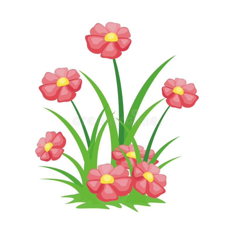 Illustration de fleur de bande dessinée avec la belle et mignonne conception illustration libre de droits