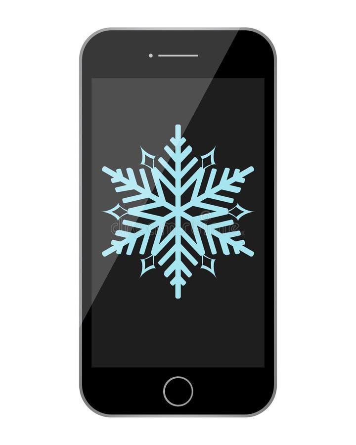 Illustration de flocon de neige de téléphone photographie stock