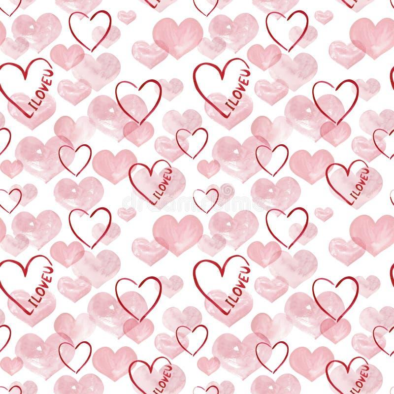 Illustration de fond de coeurs de rose d'aquarelle Configuration sans joint de mariage illustration stock