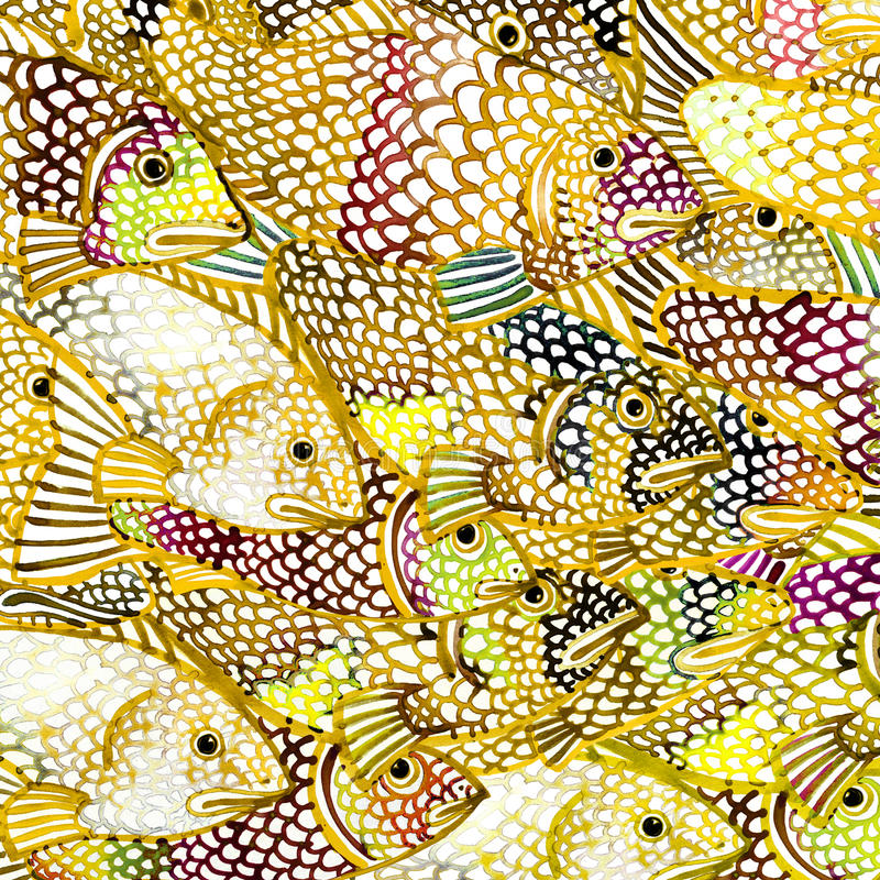 Illustration de fond d'aquarelle de poisson de mer d'or illustration de vecteur