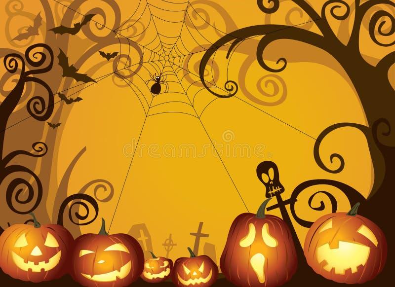 Illustration de fond de conception de potirons de Halloween illustration de vecteur