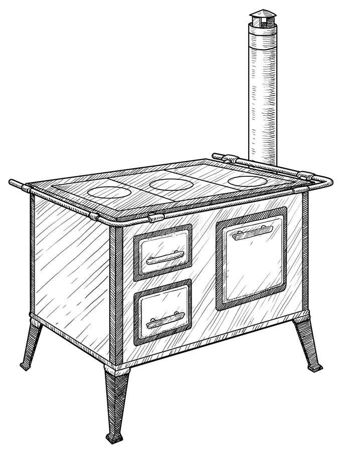 Illustration de fourneau de cuisine de cru, dessin, gravure, encre, schéma, vecteur illustration de vecteur