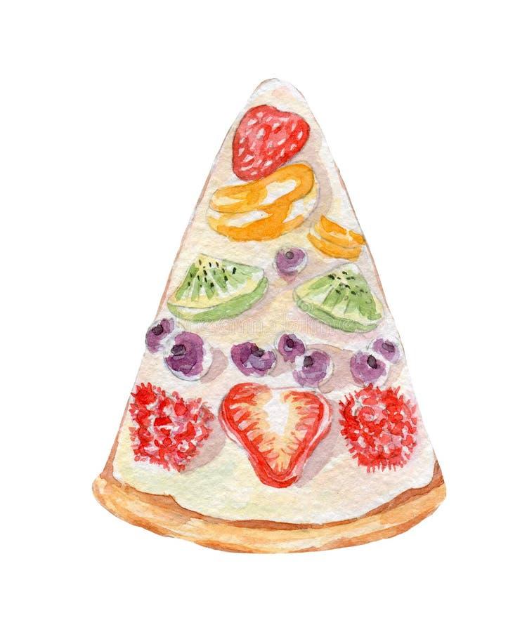 Illustration de gâteau de fruit Aquarelle tirée par la main sur le fond blanc illustration de vecteur