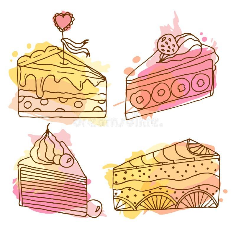 Illustration de gâteau de vecteur L'ensemble de 4 gâteaux tirés par la main avec coloré éclabousse Gâteaux avec de la crème et de illustration stock
