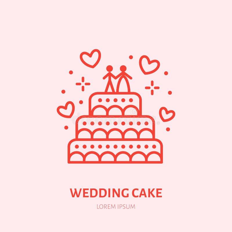 Illustration de gâteau de mariage Ligne plate icône, logo de bonbons de boutique de sucrerie illustration libre de droits