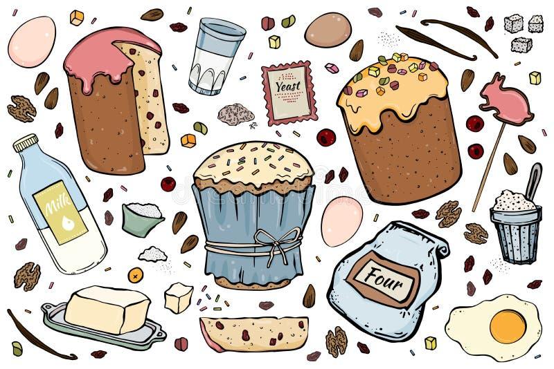 Illustration de gâteau de Pâques de recette illustration de vecteur