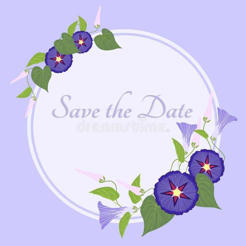 Illustration de gloire de matin pour la carte d'invitation Faites gagner la date, invitation illustration stock
