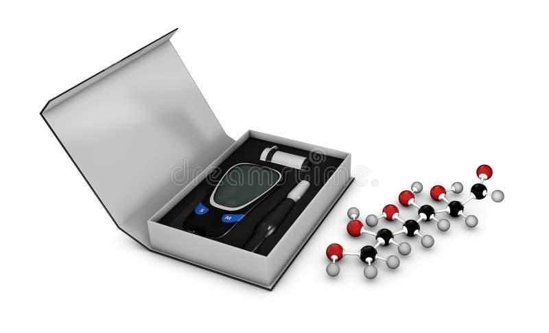 Illustration de glucometer en boîte avec la bande d'essai et molécule de glucose photos stock